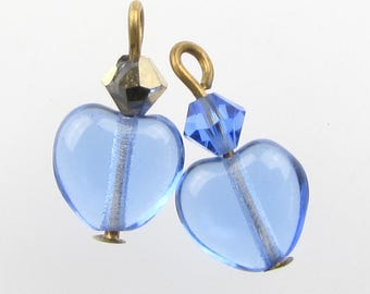 Vintage Glass Bead Drops Sapphire Heart Charms Swarovski Antiqued Brass Mixed Lot 15mm uvf0631 (2)