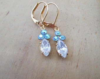 Mermaid-Vintage Petite Earrings Clear Crsystal Sea Foam Gold Tone