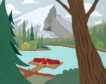 Alpine Lake | A scenic landscape of a red canoe resting on an alpine dock.