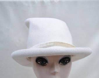 Vintage White Wool Felt Top Hat / Mint Condition Vintage Top Hat / Mad Hatter Top Hat / Steam Punk Top Hat / Vintage Hat / Costume Top Hat
