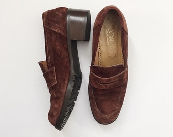Vintage 1990s Brown Suede Joan & David Block Heel Loafers - 6 1/2