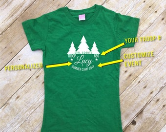 Girl Scout Troop shirt. 3 or more shirts. Personalized Girl Scout Shirt. Custom Girl Scout Troop Shirt. Daisy / Brownie troop shirt.