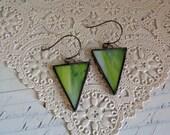 Green Streaky Stained Glass Earrings