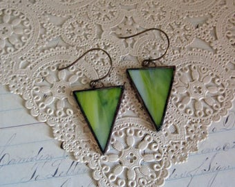 Green Streaky Stained Glass Earrings