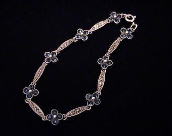 Vintage Sterling Sapphire Clover Flower & Marcasite Bracelet, Signed DBJ