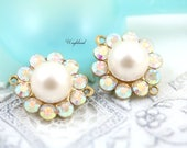 Faux Pearl Swarovski Rhinestone Round Bracelet Link Earring Connector Findings Raw Brass Setting AB Crystal & Light Pink 14x16mm - 2
