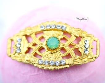 Crystal & Green Opal 24K Gold Plated Curved Filigree Bracelet Bar with Swarovski Crystal - 1