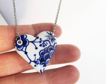 Small Heart  necklace - Hand made & Hand painted Blue and white porcelain.