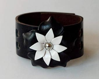 Flower Bracelet Leather Flower Cuff Flower Bangle Flower Leather Cuff Black Color