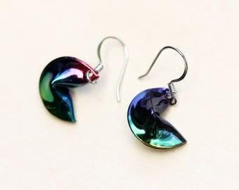 Fortune Cookie Earrings, Earrings, Vintage Fortune Cookie Earrings, Dangle Earrings, Food Earrings, Fun Earrings, Enamel Earrings, Food
