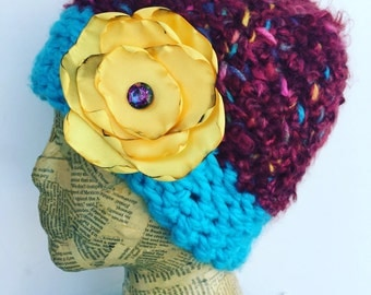 Crocheted Beanie Hat in Burgundy, Pink, Yellow, Turquoise, Blue with Removable Fabric Flower Pin