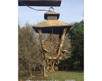 Pendant Light - Hanging Pendant Light  - Vintage Lantern - Metal Pendant Light - Vintage Pendant Light- Architectural Light - Acanthus Leaf