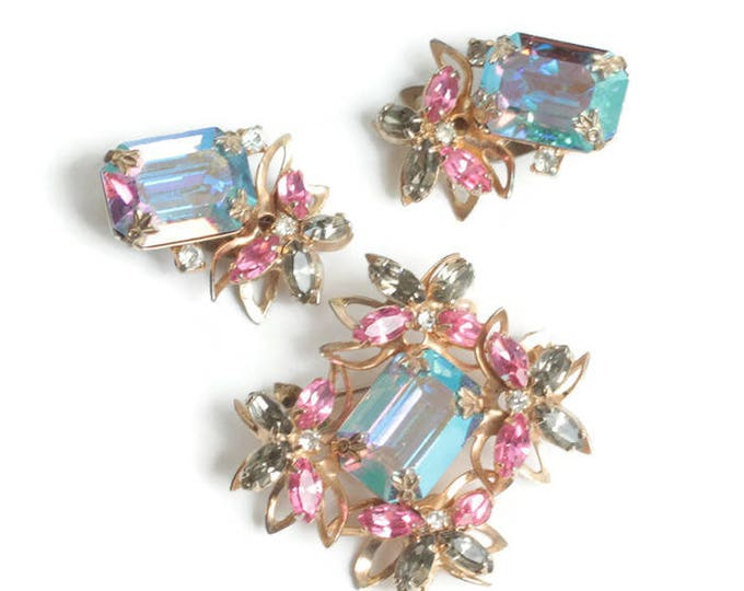 AB Rhinestone Floral Brooch Earrings Set Pink Green Blue Dimensional Vintage
