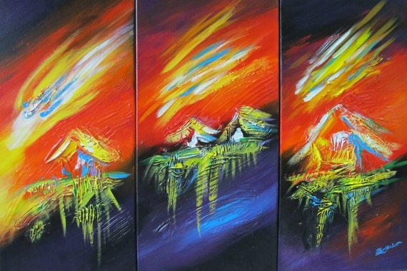 wall art triptych Three tropical coconut island sunset sunrise hawaii painting decor