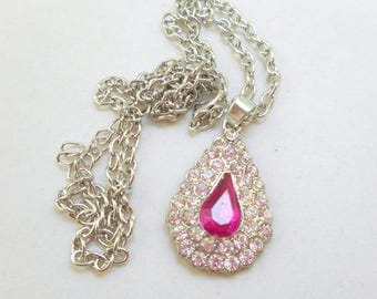 Pink Teardrop Rhinestone Pendant Necklace