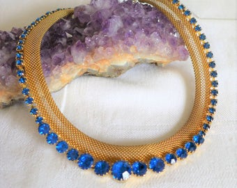 "Stunning Vintage Necklace Sapphire Blue Gold Mesh Rhinestones Graduated 16 1/2"""