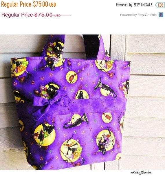 HOLIDAY SALE - Knitting Tote Bag, Halloween Witches Print Purple Black Orange Yellow - Perfect Handbag Knitting Tote Combo