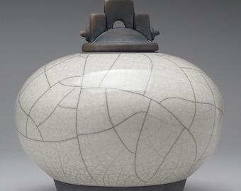 Large,Ceramic jar,Raku, white pottery lidded urn, Raku Jar with lid,large urn, large jar, ,handmade