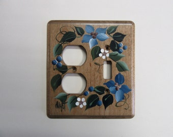 Outlet Switch Combo with Blue Flowers