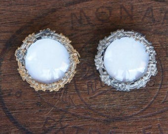 Two Antique French Convex Glass Picture Broochues