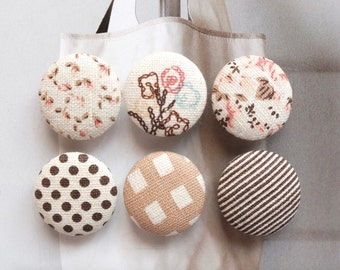 Special SALE-Shabby Chic Brown Pink Yellow Rose Floral Flower Geometry Polka Dots Stripe Check-Fabric Covered Buttons(0.87 Inches, 6PCS)