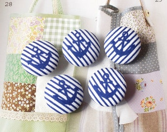 Summer Ocean Navy Blue Geometric Nautical Marine Anchor Stripes-Handmade Fabric Covered Buttons(0.87 Inches, 5PCS)