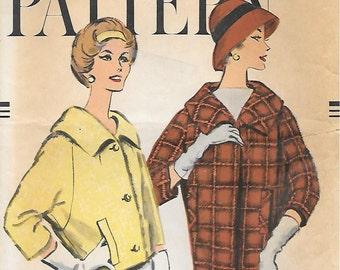 Vogue 9566 1950s Barrel Jacket in Two Lengths Vintage Sewing Pattern Bust 38