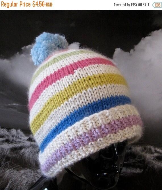 HALF PRICE SALE Digital Pdf download Knitting Pattern - Chunky Stripe Bobble Beanie hat knitting pattern pdf download