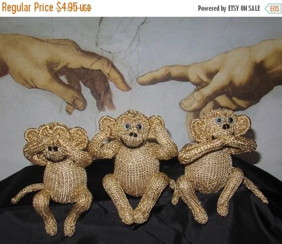 HALF PRICE SALE Knitting Pattern Only digital pdf download- 3 Wise Monkeys toy animal pdf knitting pattern