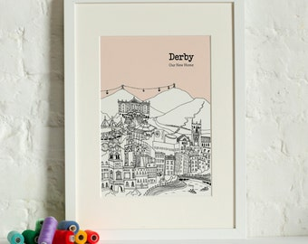 Personalised Derby Print   Unique Wedding Gift   Derby Illustration   Derby Poster   Art Prints   Wall Art   City Skyline