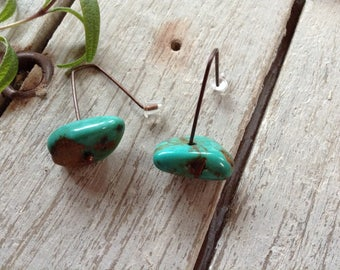 NEW! Blue Green Turquoise Nugget And Copper Dangle Earrings