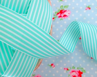 Striped Grosgrain Ribbon -  Robin's Egg Blue - 1 1/2 inch - 2 Yards