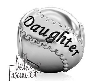 Daughter Appreciation Family Gift Bead Charm - Sterling Silver - Fits Pandora and Compatible European Brand Bracelets - BELLA FASCINI® F-40