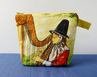 Traditional Welsh woman and harp zipper purse, reclaimed fabric, eco and practical