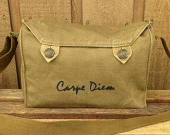 Carpe Diem - Seize the Day!  Vintage Czech Canvas Army Messenger Bag. Hand Painted