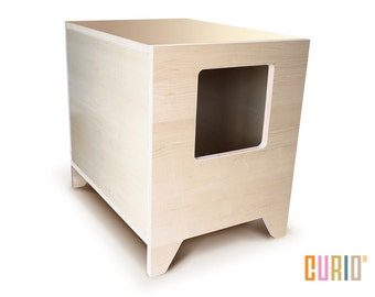 CURIO in Maple | Modern Cat Litter Box | Designer Cat House | Cat Furniture | Pet House | Mid Century Modern | Ready To Ship