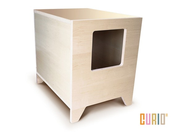 Curio in maple modern cat litter box designer cat house - Modern kitty litter box ...