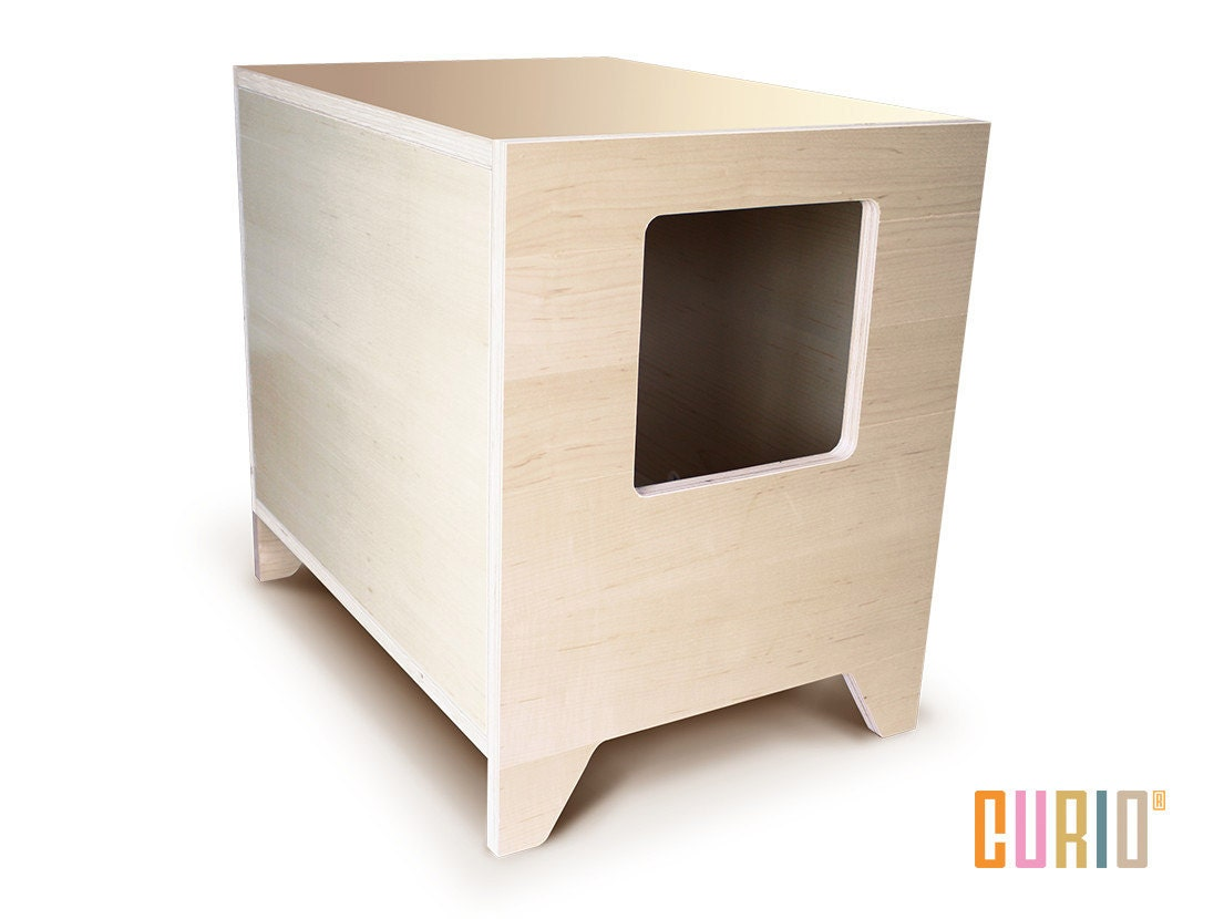 curio in maple modern cat litter box designer cat house - 🔎zoom