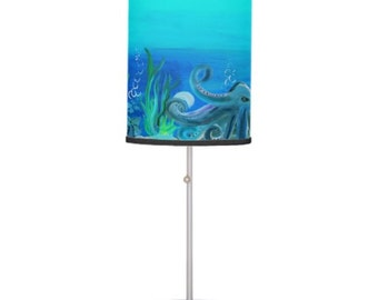 Octopus under the sea sea life beach house table lamp from my art