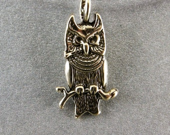 OWL, STERLING, PENDANT, 1 1/8 in height and 3 /8 wide, Handmade, Sterling Silver Cast Lost wax, Weight 2.06 dwt, or 3.204 grams, High Polish