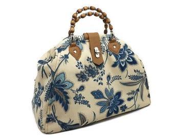 Blue Floral Mini Mary Poppins Style Handbag