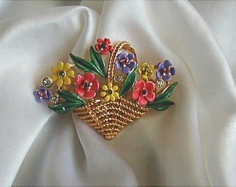 Vintage Basket of Flowers Brooch Pin