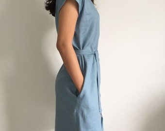 prewashed Linen Tunic Dress/Loose fit Dress/ Deserie/In Gray Blue/Gift for her/Linen Bridesmaids Dress Loose fit