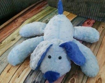 Flash Sale Stuffed Puppy Dog Soft Toy -  baby blue - Cobalt Blue Minky Dot Fabric - plushie - stuffed animal - baby shower gift -  puppy lov