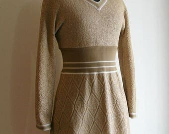 Vintage Light Brown and Taupe V-neckline Long Sleeve Boucle Knit Dress