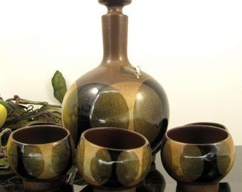 Vintage ROBERT MAXFIELD Pottery Craft Decanter Glass Set Mid Century Modern