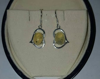 Sterling Silver Heart and Prehnite Cabochon Dangle Drop Earrings