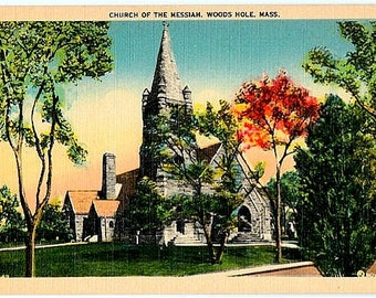 Vintage Cape Cod Postcard - The Stone Church of The Messiah, Woods Hole (Unused)