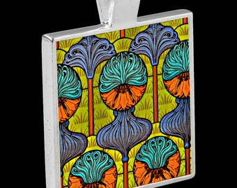 Silver Pendant with Necklace - featuring an Art Nouveau Tile (Crown Imperial by Eugene Grasset)