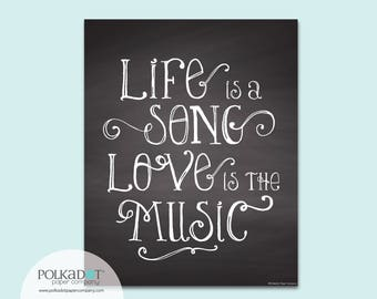 Life is a Song Chalkboard Style Framable Print